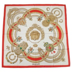 HERMES Carre90 KOSMIMA Space Womens scarf red x white