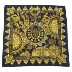 HERMES Carre90 L'OR DES CHEFS Gold for the sheiks Womens scarf black
