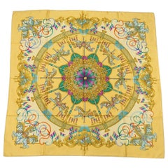 HERMES Carre90 LUNA PARK Amusement Park Womens scarf yellow