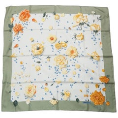HERMES Carre90 roses drop Flower Womens scarf green x orange