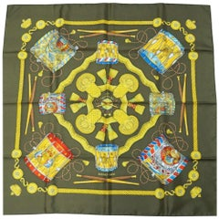 HERMES Carre90 Tambour drum Womens scarf brown