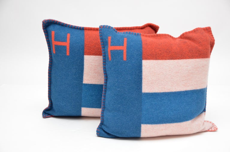 Hermes Cushion Casaque Bleu/Gre color  Mix of Bleu, orange and off white.Please see pictures for reference  90% Merino Wool  10% Cashmere   Set /Two  with dust bags  New never used. Made in Great Britain 20/20