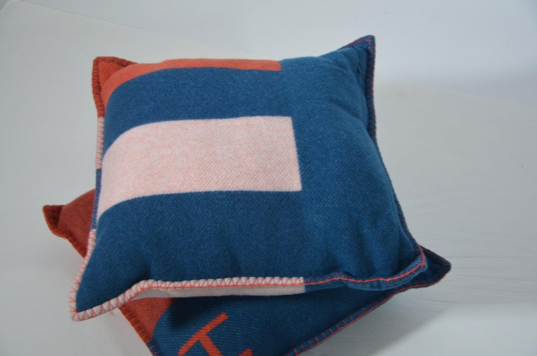 Blue Hermes Casaque  Merino Pillow Cushion Set /Two Bleu/Gre  New With Tags  50x50 SZ For Sale