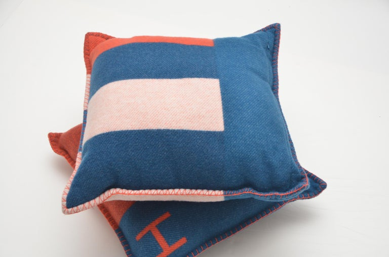 Hermes Casaque  Merino Pillow Cushion Set /Two Bleu/Gre  New With Tags  50x50 SZ In New Condition For Sale In New York, NY
