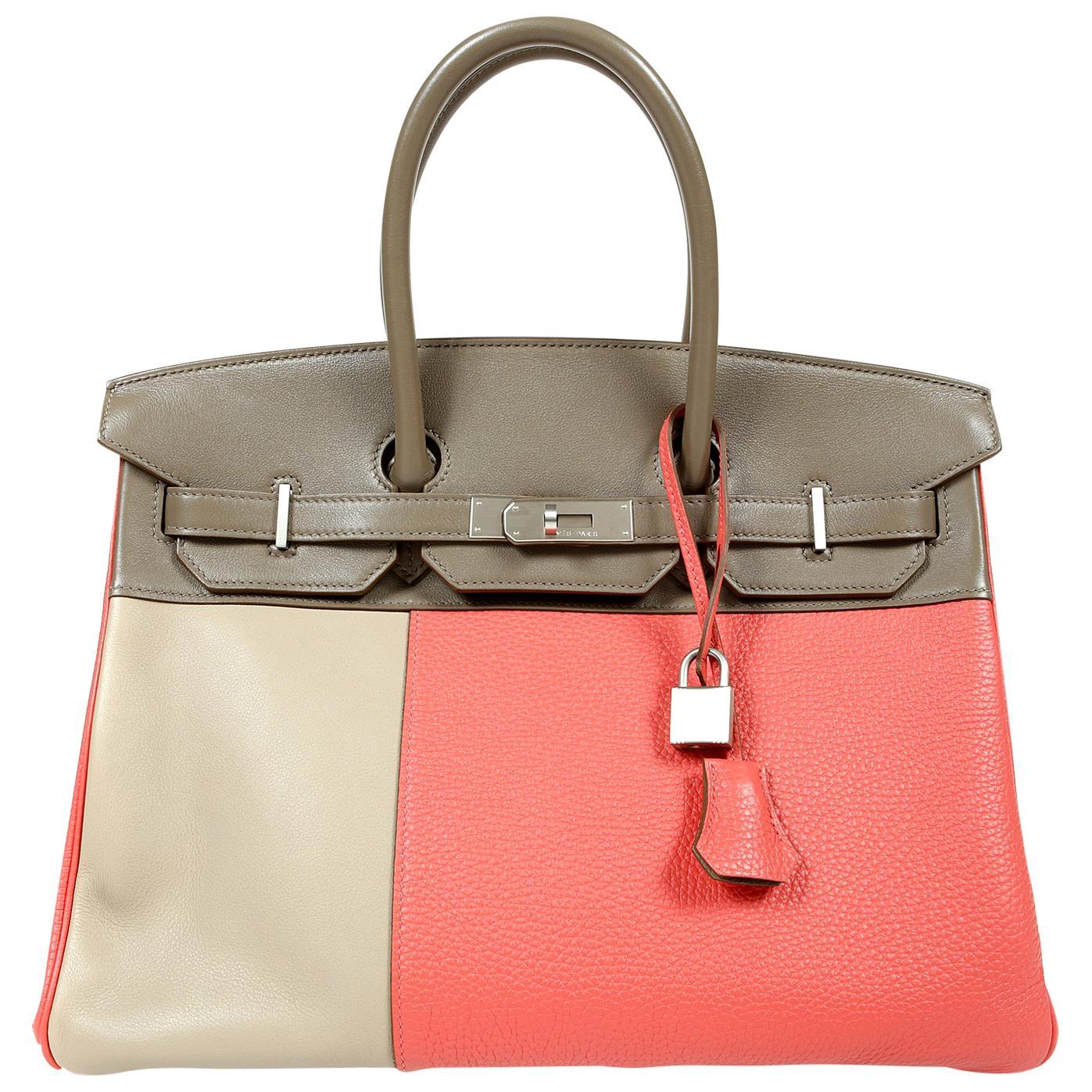 Hermès Cascade Tri Color Etoupe Rose Jaipur Argile 35 cm Clemence Swift Birkin