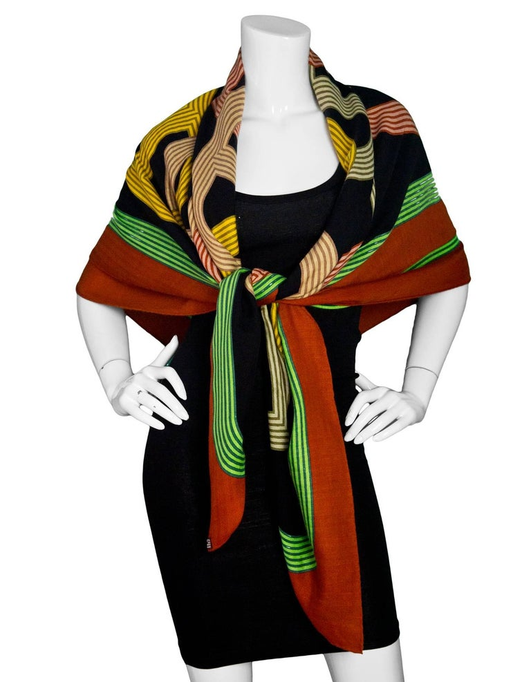 Hermes Cashmere & Silk Chaine D'ancre 140cm Shawl  Made In: France Color: Brown, black, green Composition: 65% cashmere, 35% silk Overall Condition: Excellent pre-owned condition with the exception of some pulls  Measurements: Length: 55