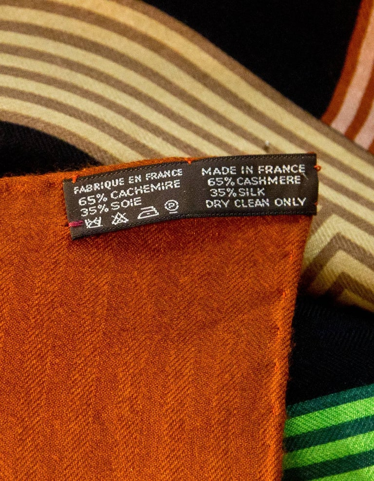 Hermes Cashmere and Silk Chaine D'ancre 140 cm Scarf Shawl For Sale 3