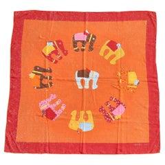 Hermès Cashmere and Silk Scarf La Ronde des Elephants Orange Pink 67 cm