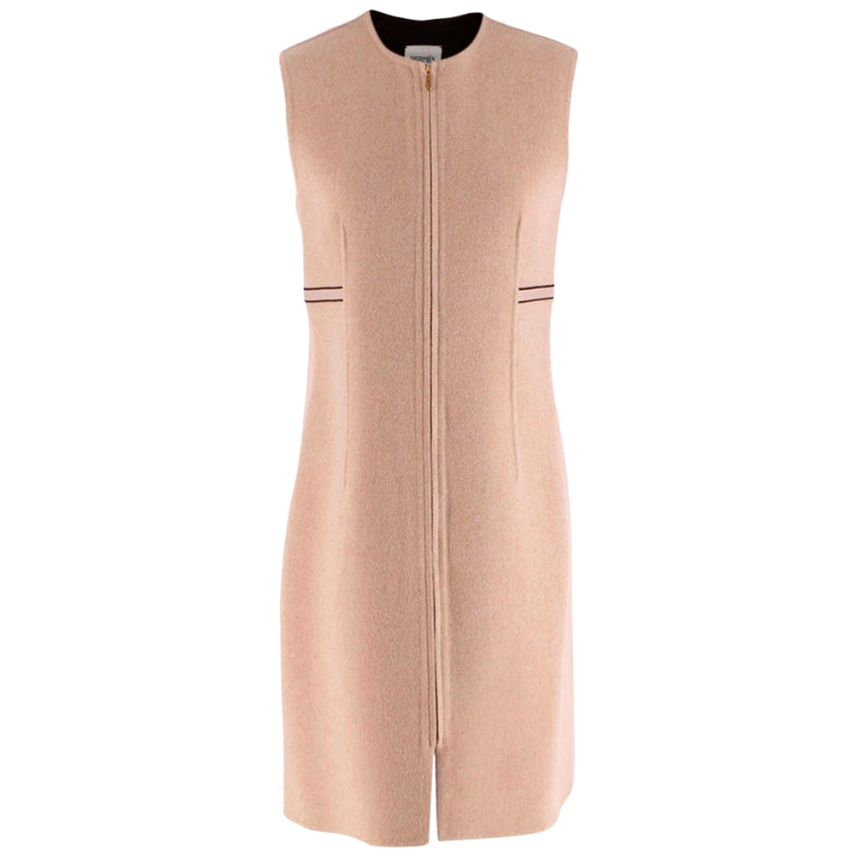 Hermes Cashmere Beige Zip Front Sleeveless Dress - Size US 4