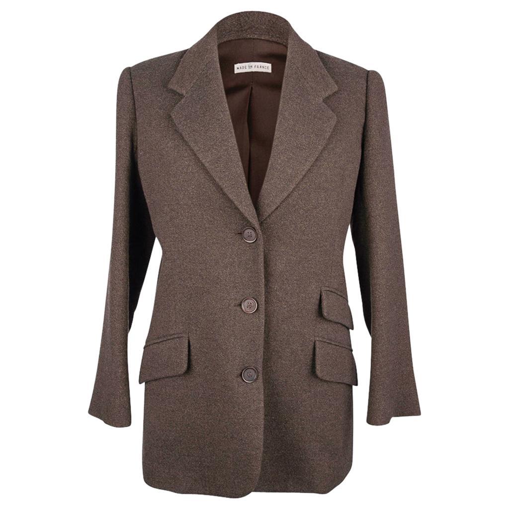 Hermes Cashmere Jacket Heathered Brown/Olive Vintage 38 / 6