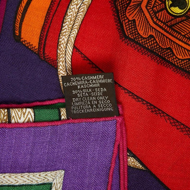 Pink Hermes Cashmere Shawl 140 For Sale