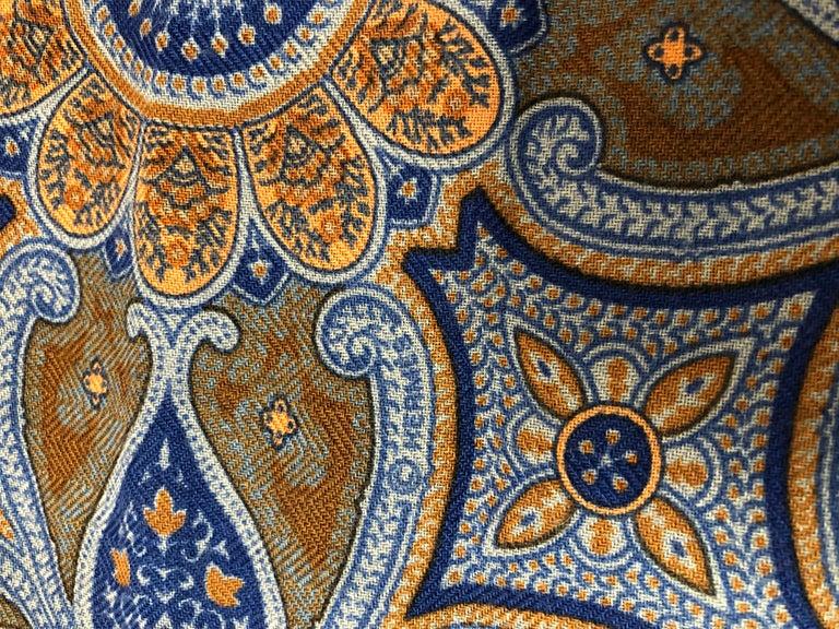 Black Hermes Cashmere/Silk Indian Inspired Paisley Fringed Shawl 70