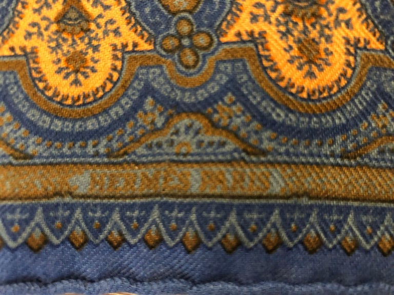Women's or Men's Hermes Cashmere/Silk Indian Inspired Paisley Fringed Shawl 70