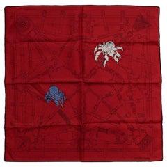 """Hermes Cassis/Noir """"Flamboyant Web"""" 45cm Silk Pocket Square"""