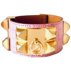 Hermes CDC Collier de Chien Bubblegum Pink Croc Alligator Gold Hardware
