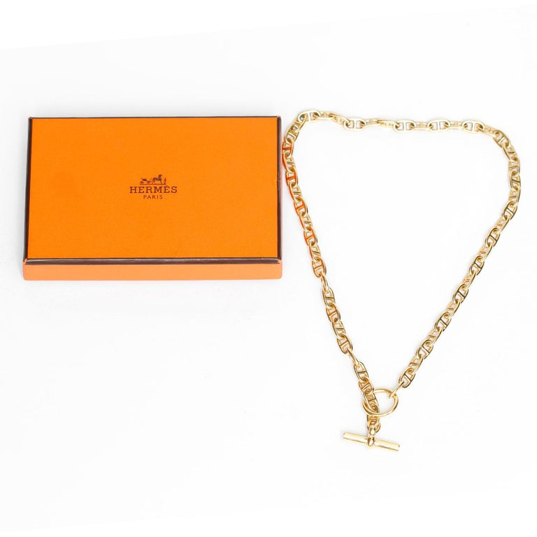 Hermes Chaine D'Ancre 18 Karat Yellow Gold Necklace For Sale 1