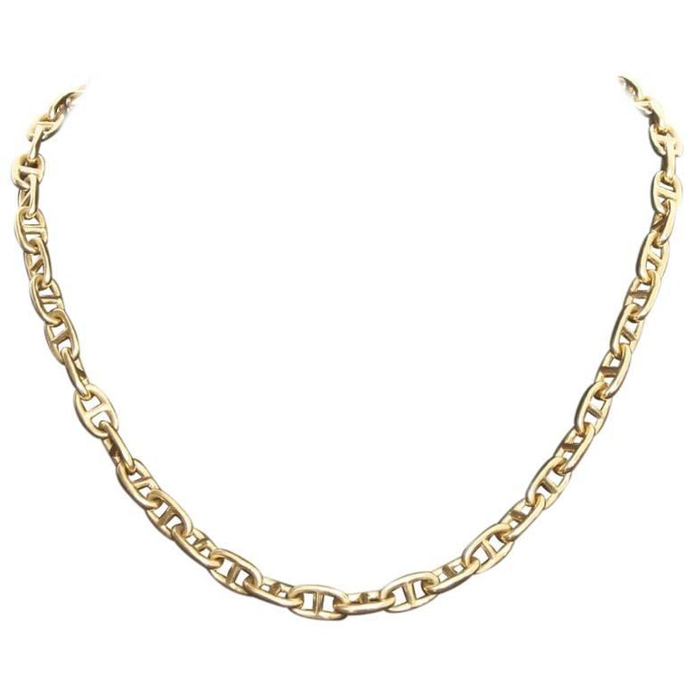 Hermes Chaine D'Ancre 18 Karat Yellow Gold Necklace For Sale