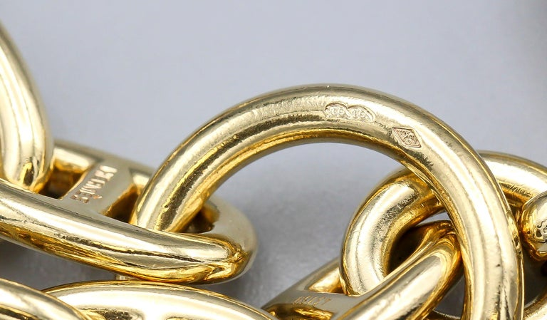 Women's Hermès Chaine D'Ancre 18 Karat Gold Large Marine Toggle Link Necklace For Sale