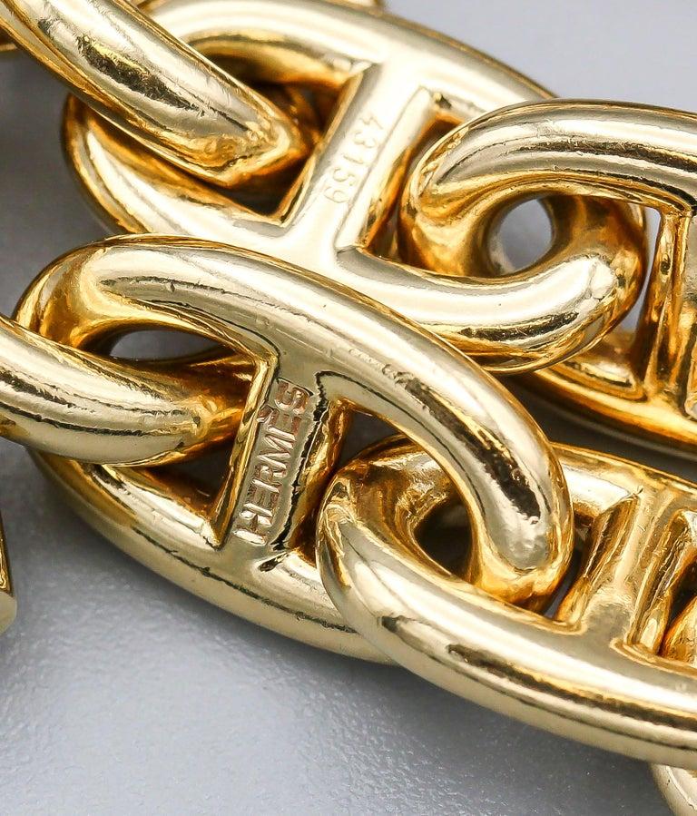 Hermès Chaine D'Ancre 18 Karat Gold Large Marine Toggle Link Necklace For Sale 1