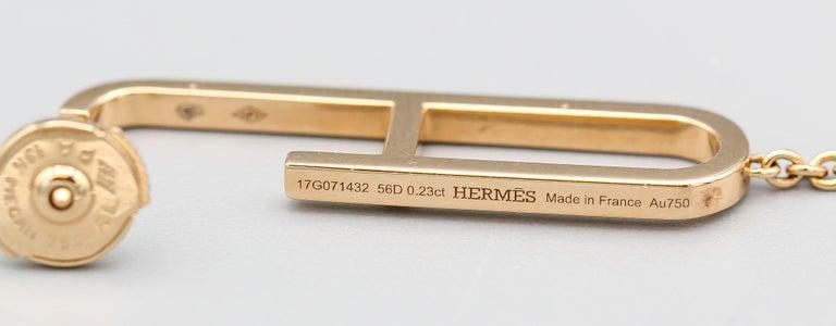 Hermes Chaine D'Ancre Diamond 18 Karat Rose Gold Drop Earrings 1