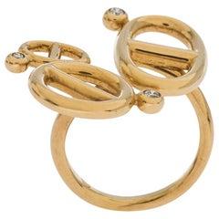 Hermes Chaîne d'Ancre Diamond 18K Yellow Gold Open Ring Size 53