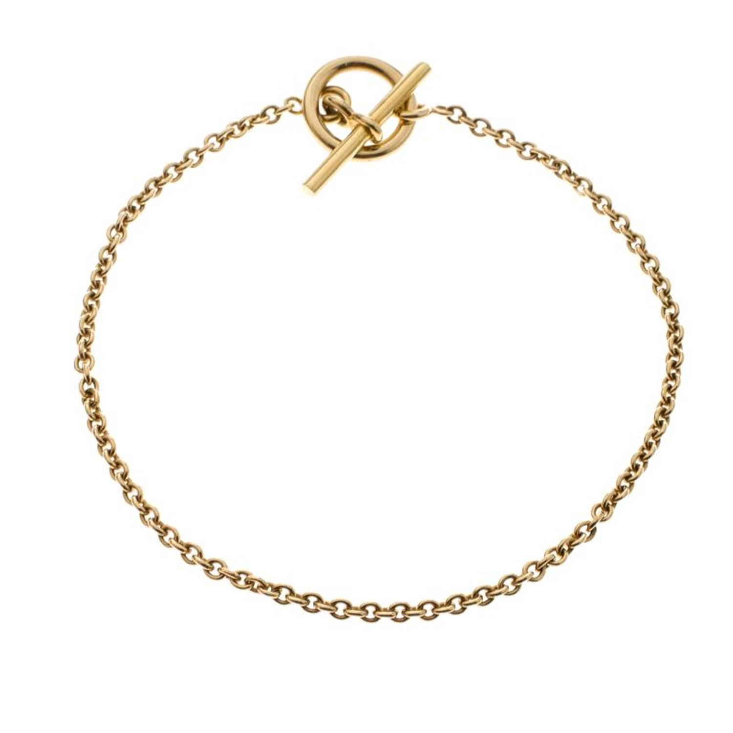 4de23e19d8361e Hermes Chaine d'Ancre Mini 18k Yellow Gold Toggle Bracelet For Sale at  1stdibs