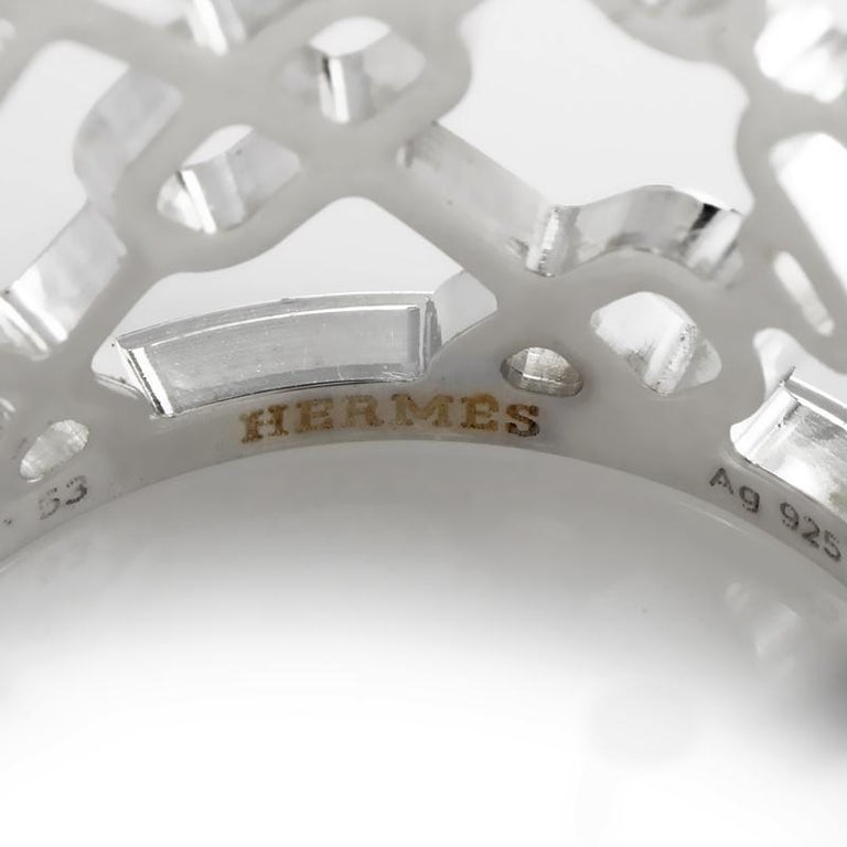 Women's Hermès Chaine d'Ancre Passerelle Silver Band Ring H106562B For Sale