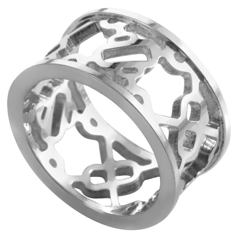 Hermès Chaîne d'Ancre Passerelle Women's Sterling Silver Cutout Band Ring For Sale