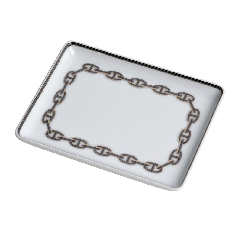 Gray Hermes Chaine D'Ancre Platinum Tray Sushi Plate Porcelain For Sale