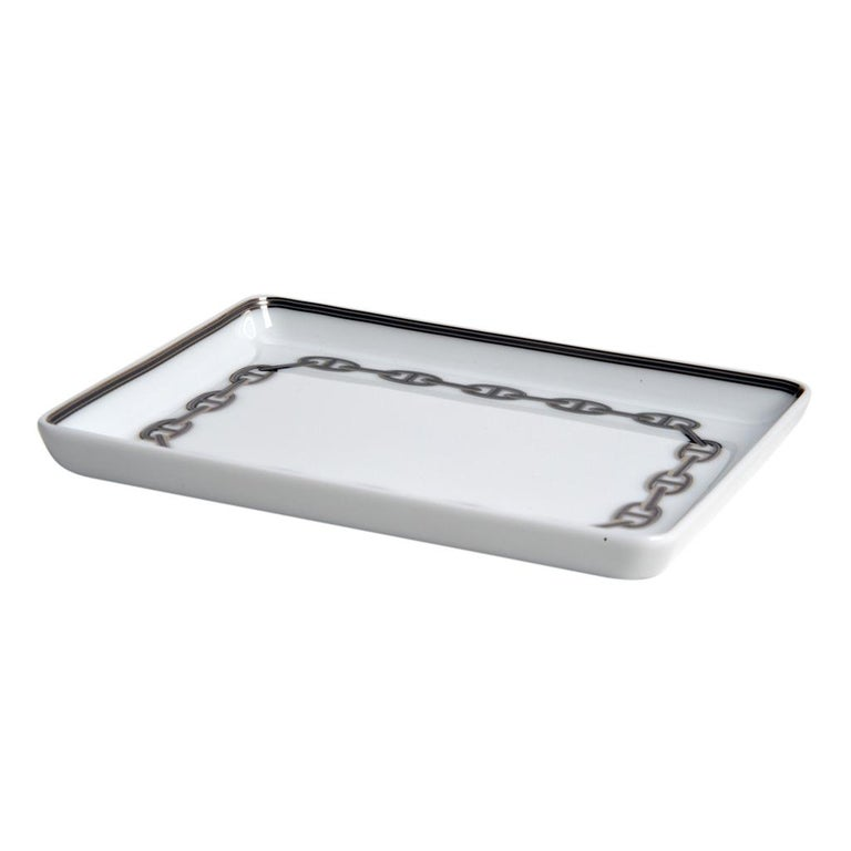Hermes Chaine D'Ancre Platinum Tray Sushi Plate Porcelain In New Condition For Sale In Miami, FL