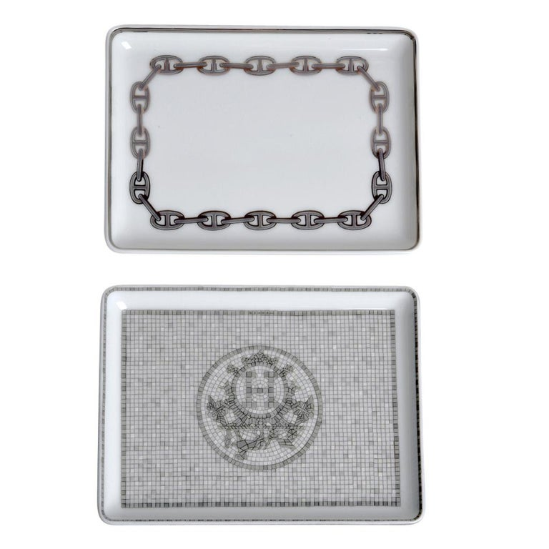 Women's or Men's Hermes Chaine D'Ancre Platinum Tray Sushi Plate Porcelain For Sale