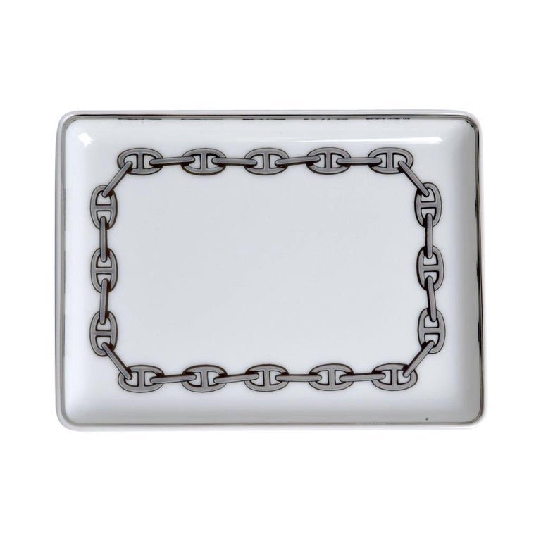 Hermes Chaine D'Ancre Platinum Tray Sushi Plate Porcelain For Sale
