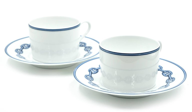 Hermes Chaine D'Ancre Porcelain Cup and Plate Set In New Condition For Sale In Scottsdale, AZ