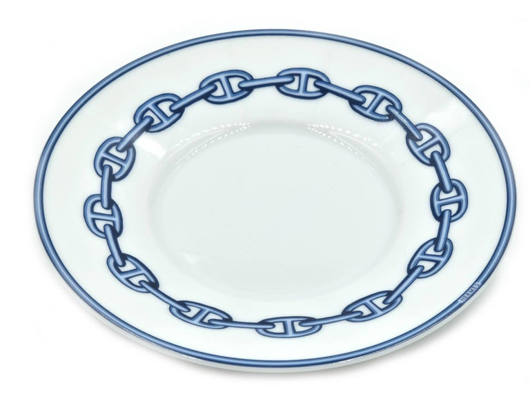 Hermes Chaine D'Ancre Porcelain Cup and Plate Set For Sale 1