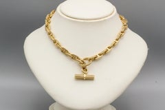 HERMES Chaine D'Ancre Tresse 18K Gold Toggle Necklace