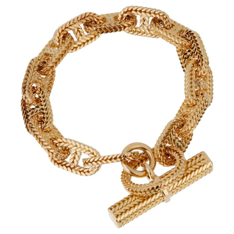 Hermes Chaine D'Ancre Yellow Gold Bracelet For Sale