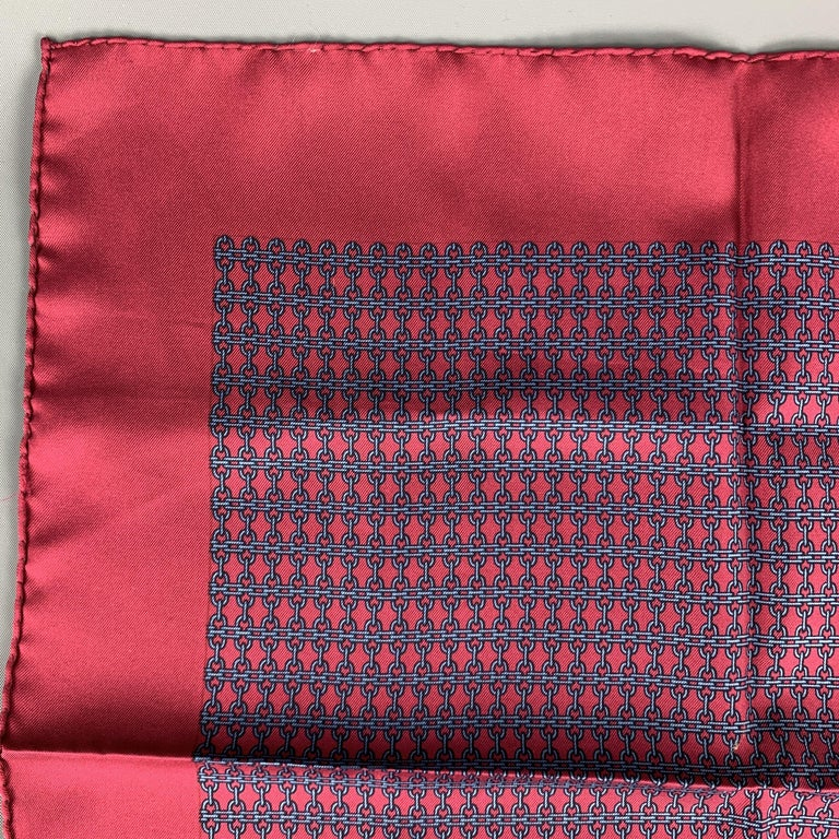 Vintage HERMES Pocket Square comes in a burgundy silk  with all over