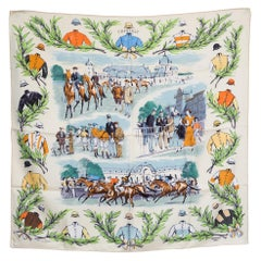 Hermes Champ de Courses a Chantilly by Maurice Taquoy Silk Scarf