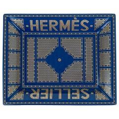 Hermes Change Tray Hermes Sellier Blue Roi / Or Limoges Porcelain New w/ Box