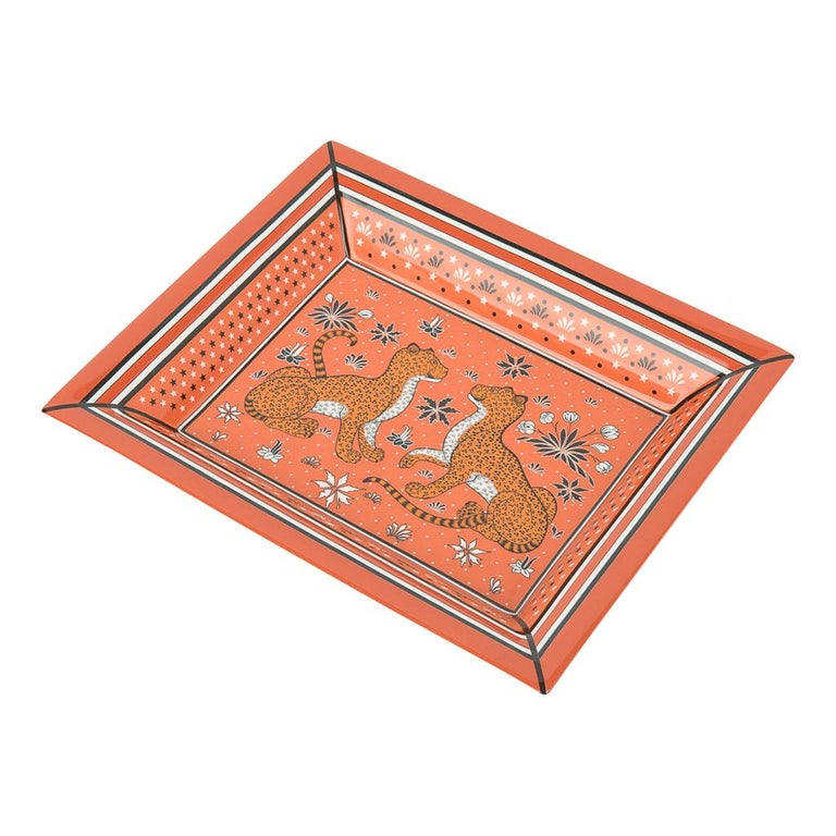Women's or Men's Hermes Change Tray Leopards Porcelain new For Sale