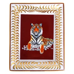 Hermes Change Tray Tigre Royal Or/Rouge Hand Painted New w/ Box
