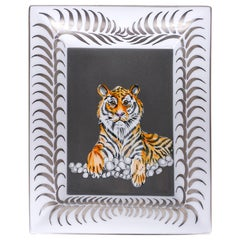 Hermes Change Tray Tigre Royal Platine/Gris Hand Painted New w/ Box