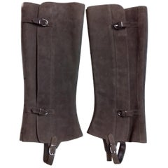 Hermès Chaps for boots in Brown Suede Leather Texas Rodeo Horse Riding Size 38
