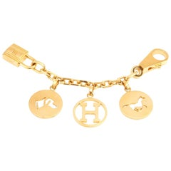 Hermes Charm Gold Breloque Horse Dog H for Birkin and Kelly Bag