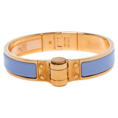 Hermes Charniere Uni Gold Plated Lavender Enamel Hinged Bracelet S
