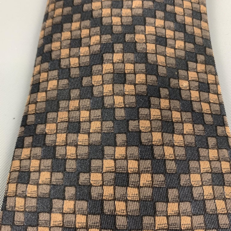HERMES Checkered Black & Brown Silk Tie In Excellent Condition For Sale In San Francisco, CA
