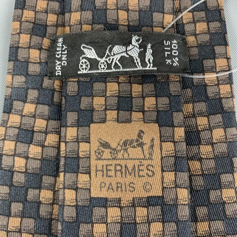 Men's HERMES Checkered Black & Brown Silk Tie For Sale