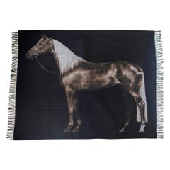 Hermes Cheval Palomino Alezan Mongolian Cashmere Throw Blanket New