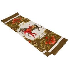 Hermes Cheval Turk Brown Silk Stole