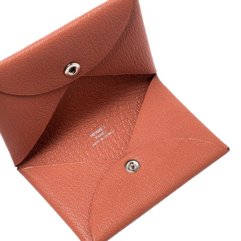 size 40 22aa2 a39c7 Hermes Chevre Mysore Rose Tea Leather Calvi Card Holder